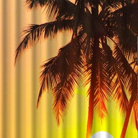 Vivid 3D Setting Sun Image Shower Curtain