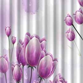 3D Waterproof Purple Tulips Printed Polyester Shower Curtain