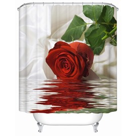 3D Red Rose in Water Printed Polyester Bathroom Shower Curtain