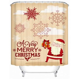 Father Christmas and Snowflake Print 3D Shower Curtain