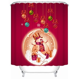 Lovely Red Santa and Presents Printing Christmas Theme 3D Shower Curtain