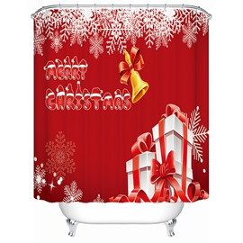 Festive Red Christmas Bell and Presents Printing 3D Shower Curtain