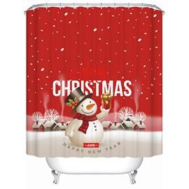 Vibrant Festive Snowman with Christmas Present Printing 3D Shower Curtain