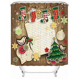 Vibrant Happy Cartoon Christmas Decor 3D Shower Curtain