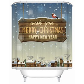 Peaceful Tranquil Christmas Night View 3D Shower Curtain