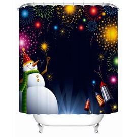 Wonderful Fabulous Snowman in Christmas Night Printing 3D Shower Curtain