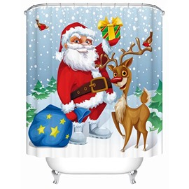 Adorable Sweet Santa and Cute Deer Printing 3D Christmas Theme Shower Curtain