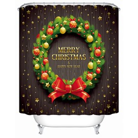 Delicate Unique Design Christmas Wreath Shower Curtain