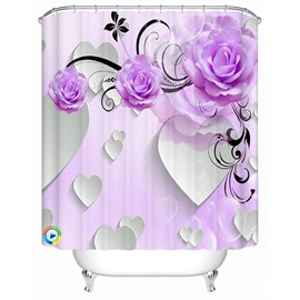 Purple Peony and Heart Shape Pattern Polyester Waterproof and Eco-friendly 3D Shower Curtain