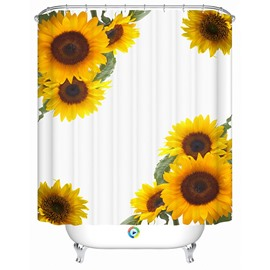 Attractive Modern Happy Sunflowers 3D Shower Curtain