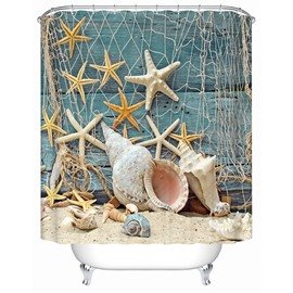 3D Sea Snail and Starfish Seashell Printed Polyester Bathroom Shower Curtain