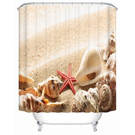 3D Sea Snail and Starfish on the Beach Printed Polyester Shower Curtain