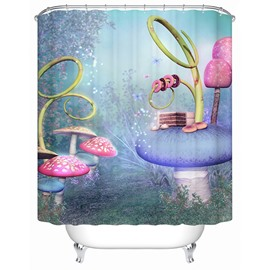 Fancy Fairytale Colorful Mushroom World 3D Shower Curtain