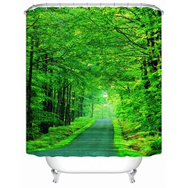 Super Fresh Tranquil Green Lane 3D Shower Curtain