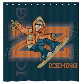 Fashion Cool Boy Skateboarding 3D Shower Curtain