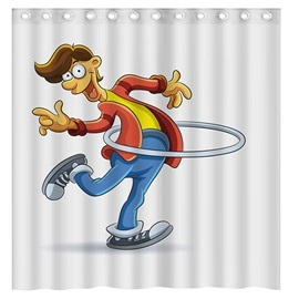 Pretty Funny Hula Hoop Boy 3D Shower Curtain