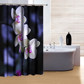 Classic Concise Design Graceful Flowers 3D Shower Curtain
