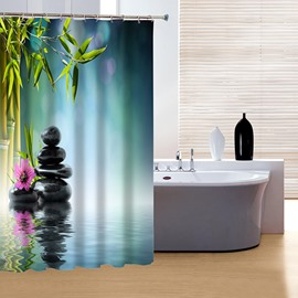 Modern Fashion Bamboo and Stones 3D Shower Curtain