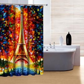 Artistic Design Fabulous Wonderful World and Eiffel Tower 3D Shower Curtain