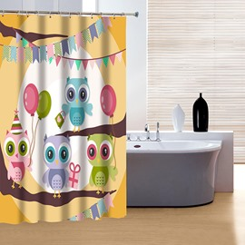 Vigorous Brisk Lovely Colorful Owl 3D Shower Curtain