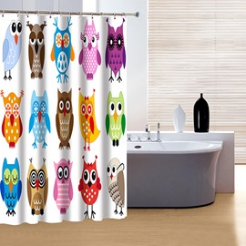 Creative Brisk Colorful Owls Print 3D Shower Curtain