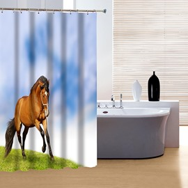 3D Running Horse Printed Polyester Light Blue Bathroom Shower Curtain