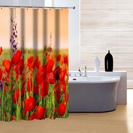 Modern Fabulous Red Flowers 3D Shower Curtain