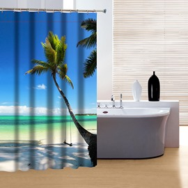 3D Coconut Tree and Beach Scenery Printed Polyester Blue Shower Curtain