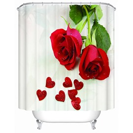 Fashion Concise Red Rose and Heart-shaped Printing 3D Shower Curtain