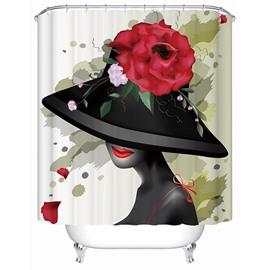 Artistic Design Elegant Girl and Flower 3D Shower Curtain