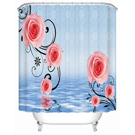 Fashion Modern Pink Rose Pattern 3D Shower Curtain