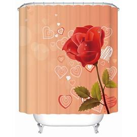 Modern Fashion Rose and Heart-shaped Pattern Orange 3D Shower Curtain