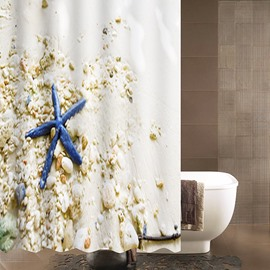 3D Blue Starfish and Stones Printed Polyester Sea Style Bathroom Shower Curtain