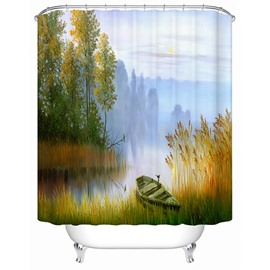 Peaceful Cozy Lakeside View Lonesome Boat 3D Shower Curtain