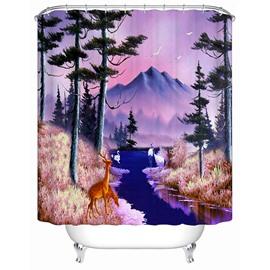 Resplendent Wild Animals and Snow Mountain 3D Shower Curtain