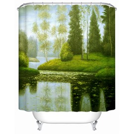 Tranquil Lake View Green Trees Print 3D Shower Curtain