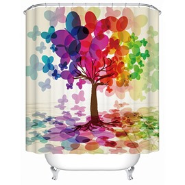 Charming Creative Design Colorful Leaf Tree 3D Shower Curtain