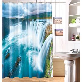 Beautiful 3D Vivid Waterfall Pattern Durable Waterproof Shower Curtain