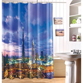New Arrival Shiny Modern City Skyline 3D Shower Curtain