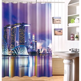 Chic Modern City Scene Dacron Fabric 3D Shower Curtain