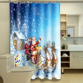 Dreamlike the Santa Claus Deer Printing Christmas Theme 3D Shower Curtain