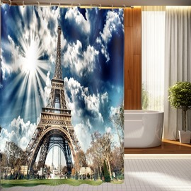 Fantastic Dreamlike Eiffel Tower 3D Shower Curtain