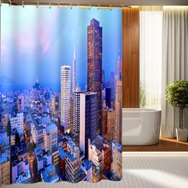 High Quality Metropolis Morning View Polyester 3D Shower Curtain