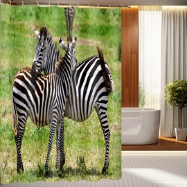 Durable Fabulous Zebra Pattern 3D Shower Curtain