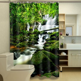 3D Luxuriant Forest and Stream Printed Polyester Green Shower Curtain