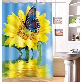 Chic Sunflower and Butterfly Image 3D Shower Curtain