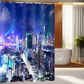 Unique Tranquil Night Metropolis 3D Shower Curtain