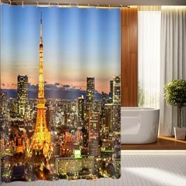Romantic Paris Eiffel Tower 3D Shower Curtain