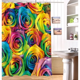 Magnificent Colorful Rose Image 3D Shower Curtain