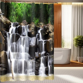 Vivid Waterfall On Rock 3D Shower Curtain